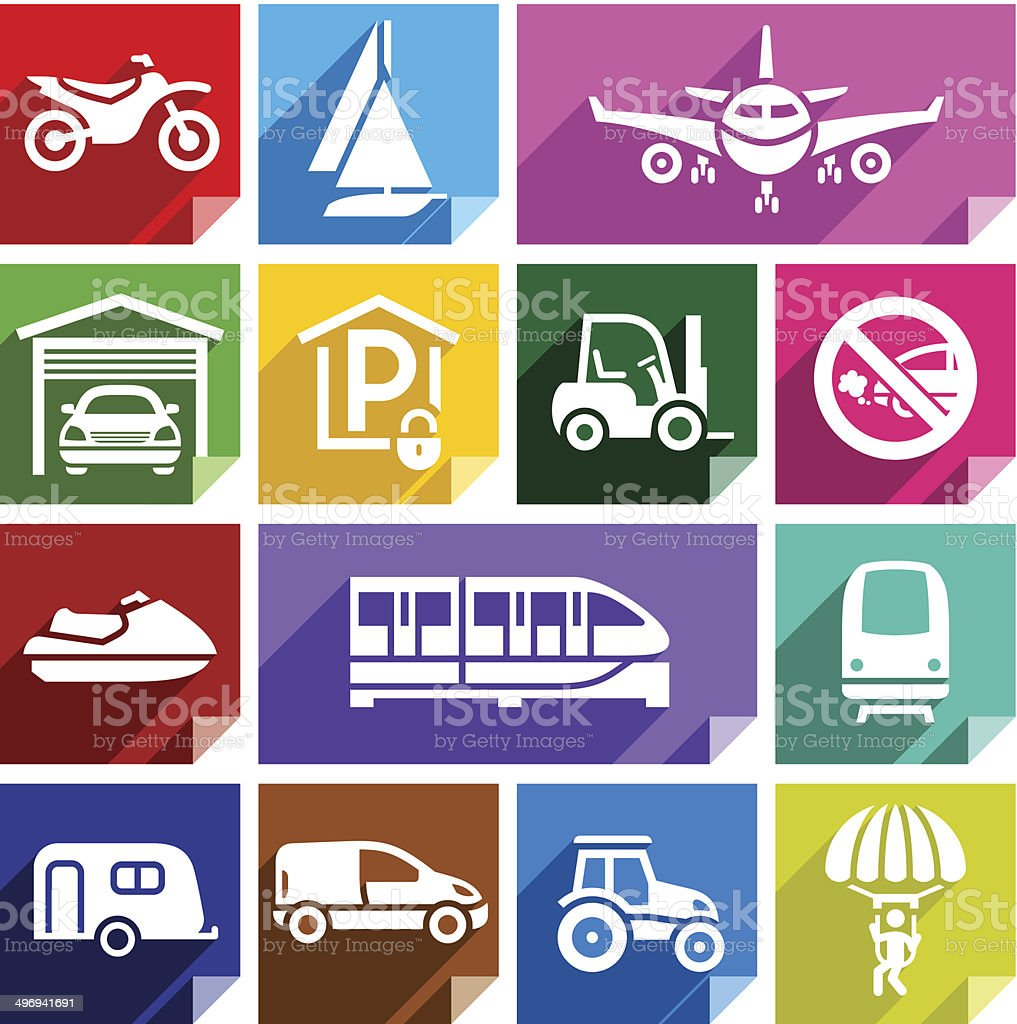 Транспорт Плоский значок, яркий цвет - 08 векторная иллюстрация