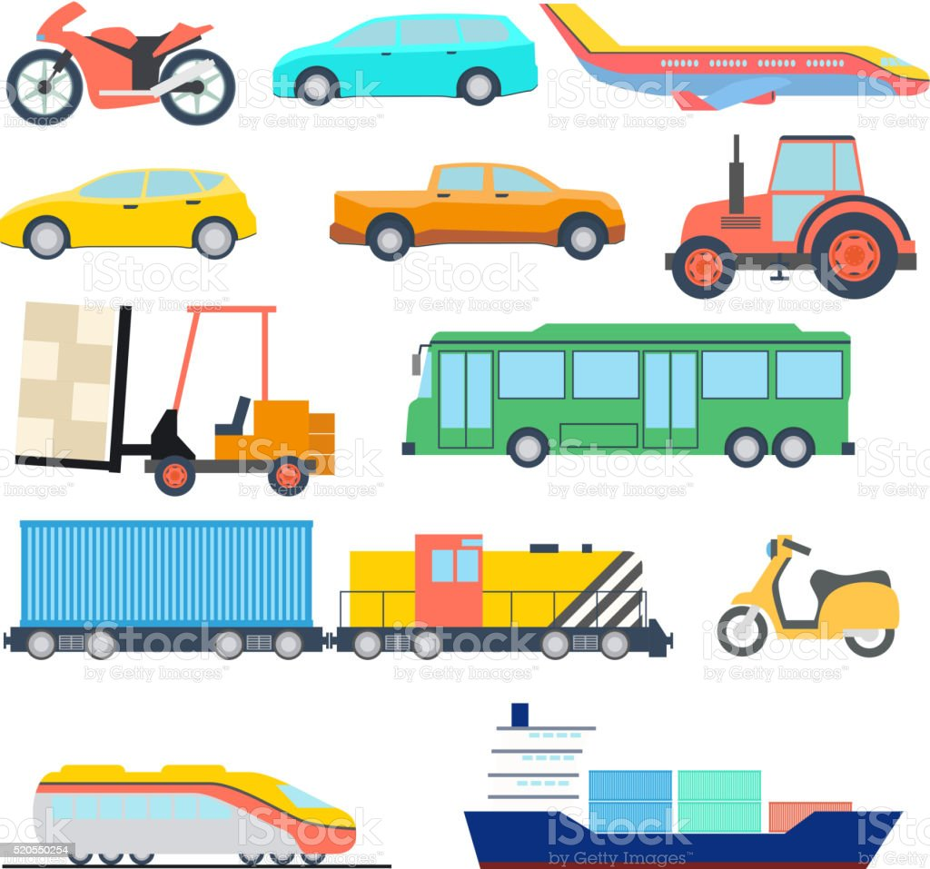 Transport flat icon. Flat car ship and plane icons. Vector vector art illustration