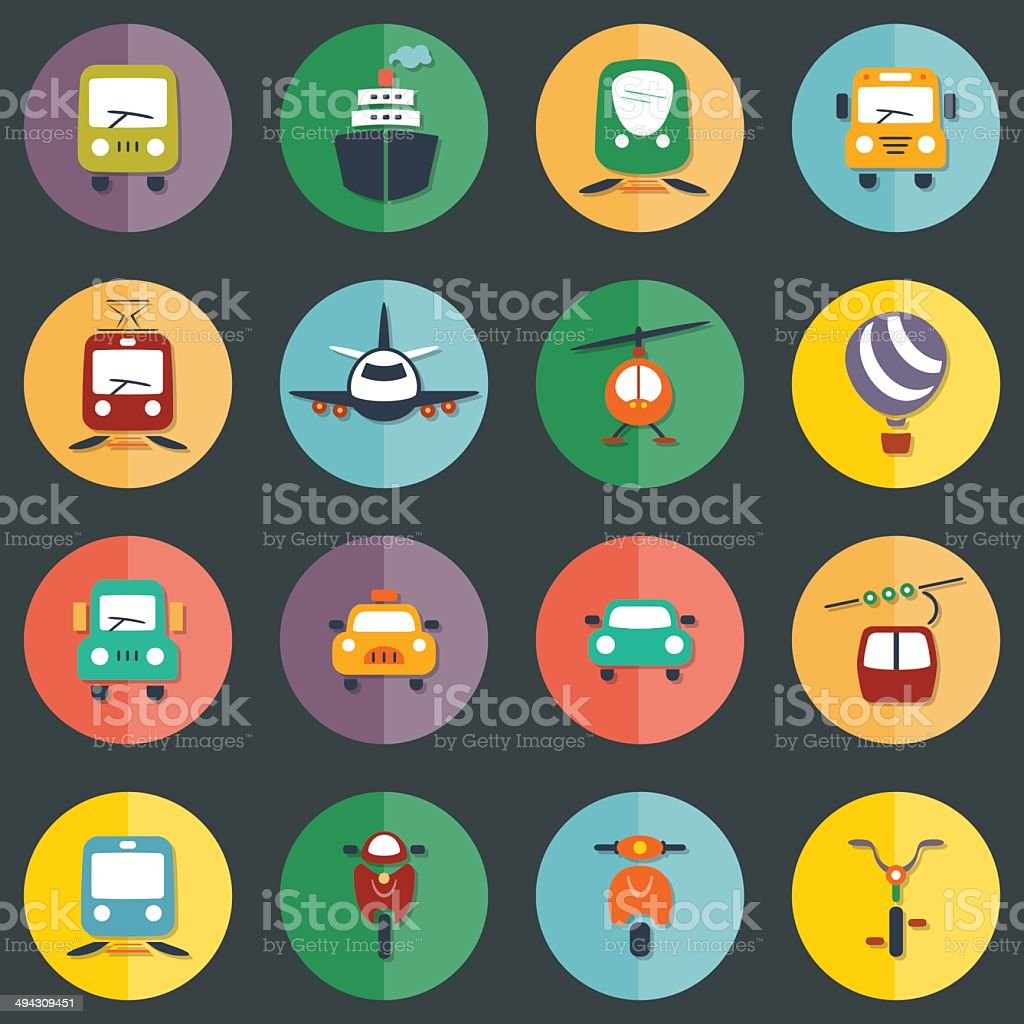 transport icon set vector art illustration