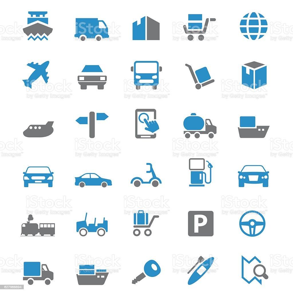 Transport icon set vector art illustration