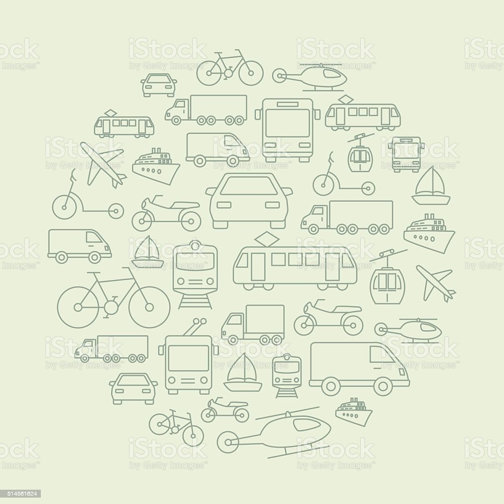 Transport Icons Background vector art illustration