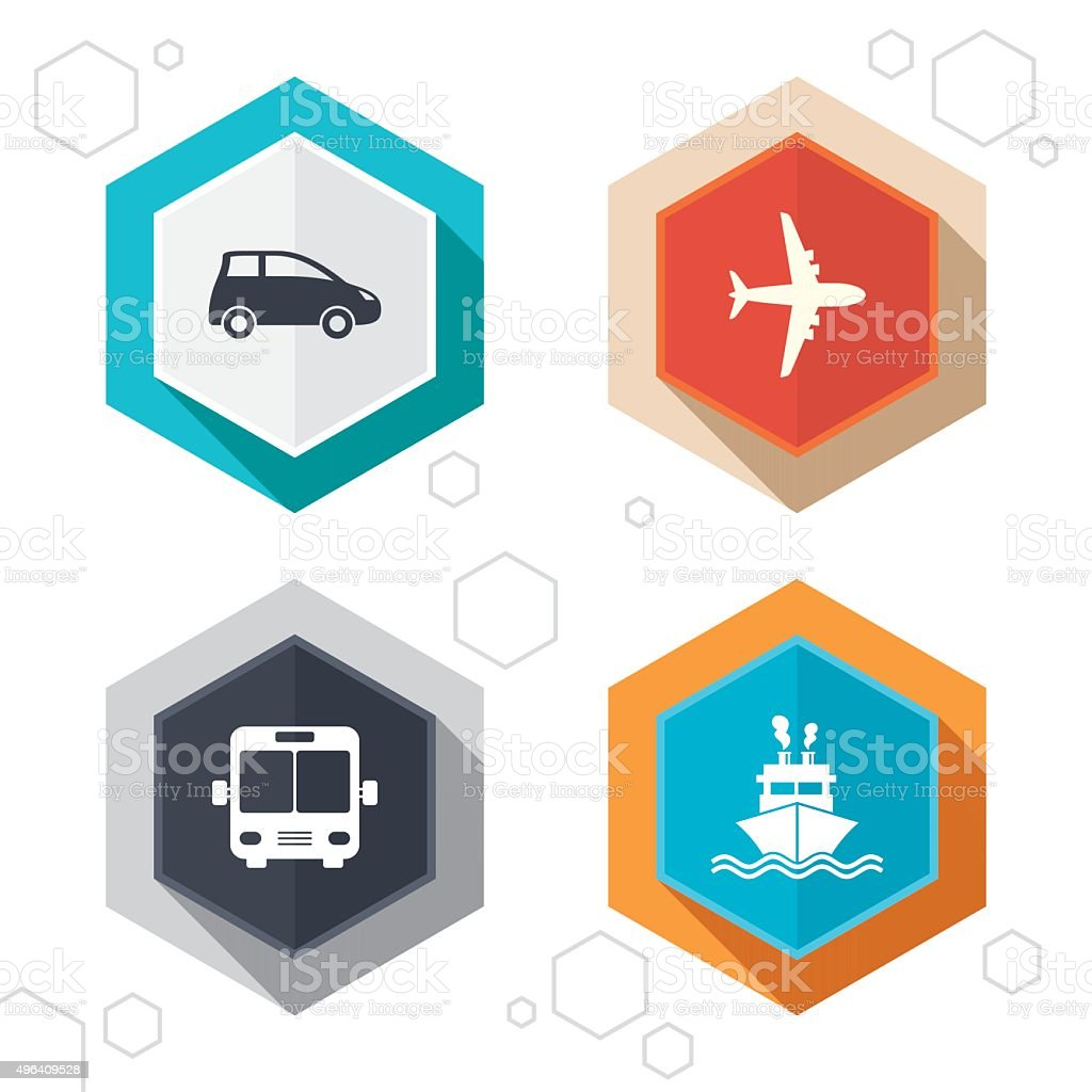 Transport icons. Car, Airplane, Bus and Ship vector art illustration