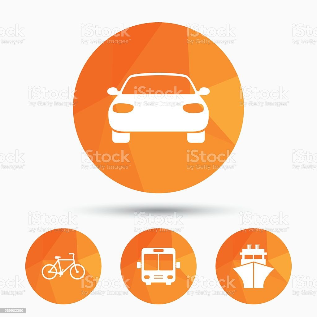 Transport icons. Car, Bicycle, Bus and Ship. vector art illustration