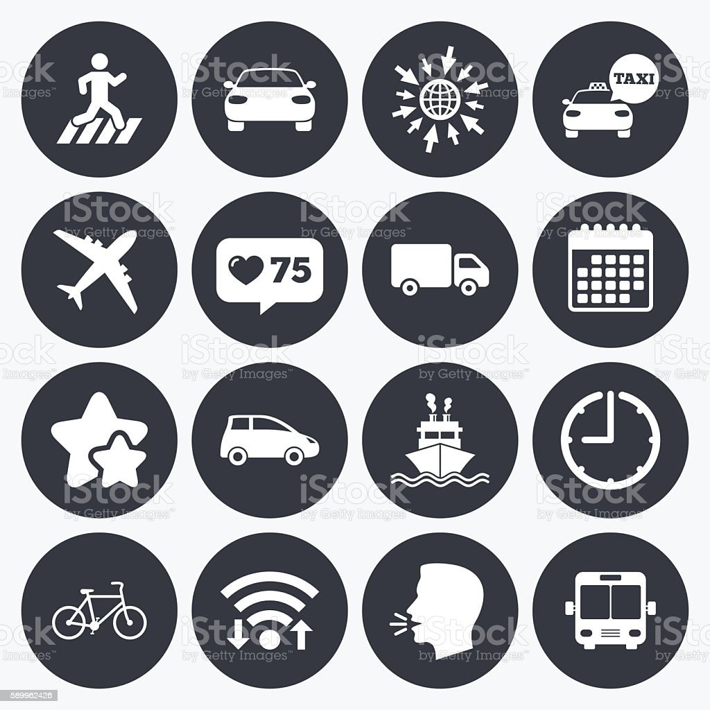 Transport icons. Car, bike, bus and taxi signs. vector art illustration