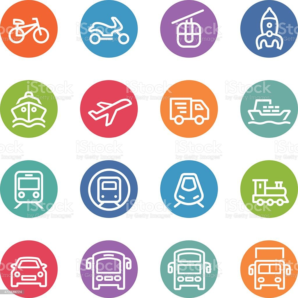 Transport Icons - Circle Line Series vector art illustration