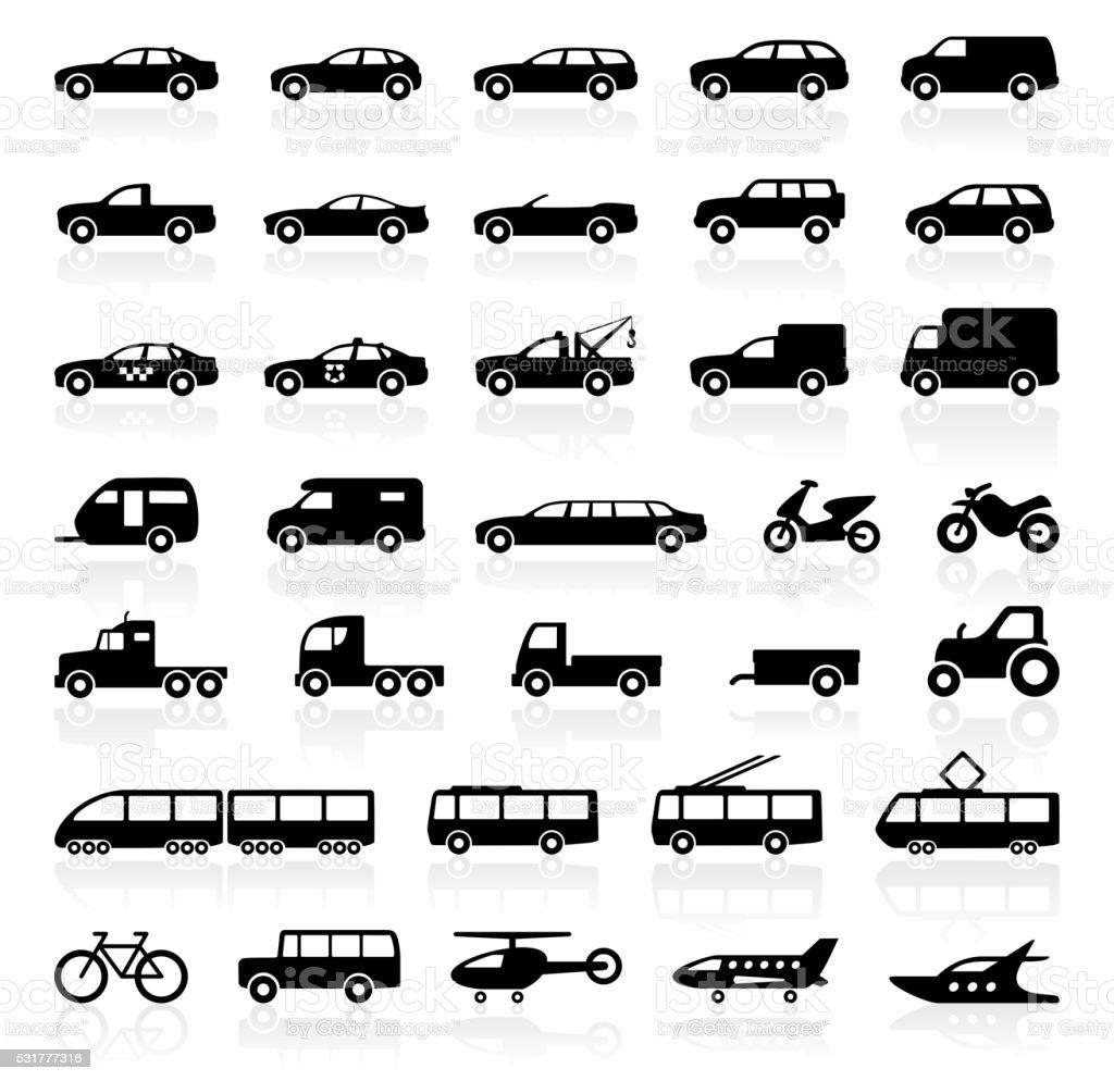 Transport icons - illustration vector art illustration