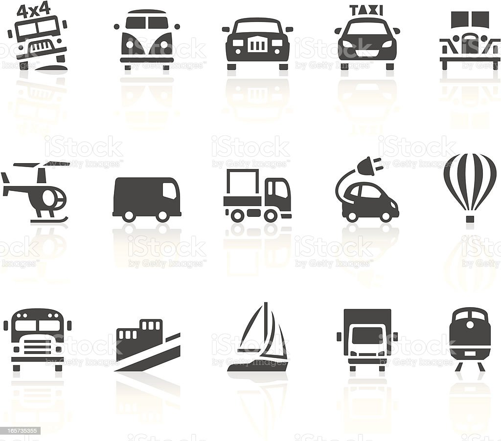 Transport icons in black and white royalty-free stock vector art