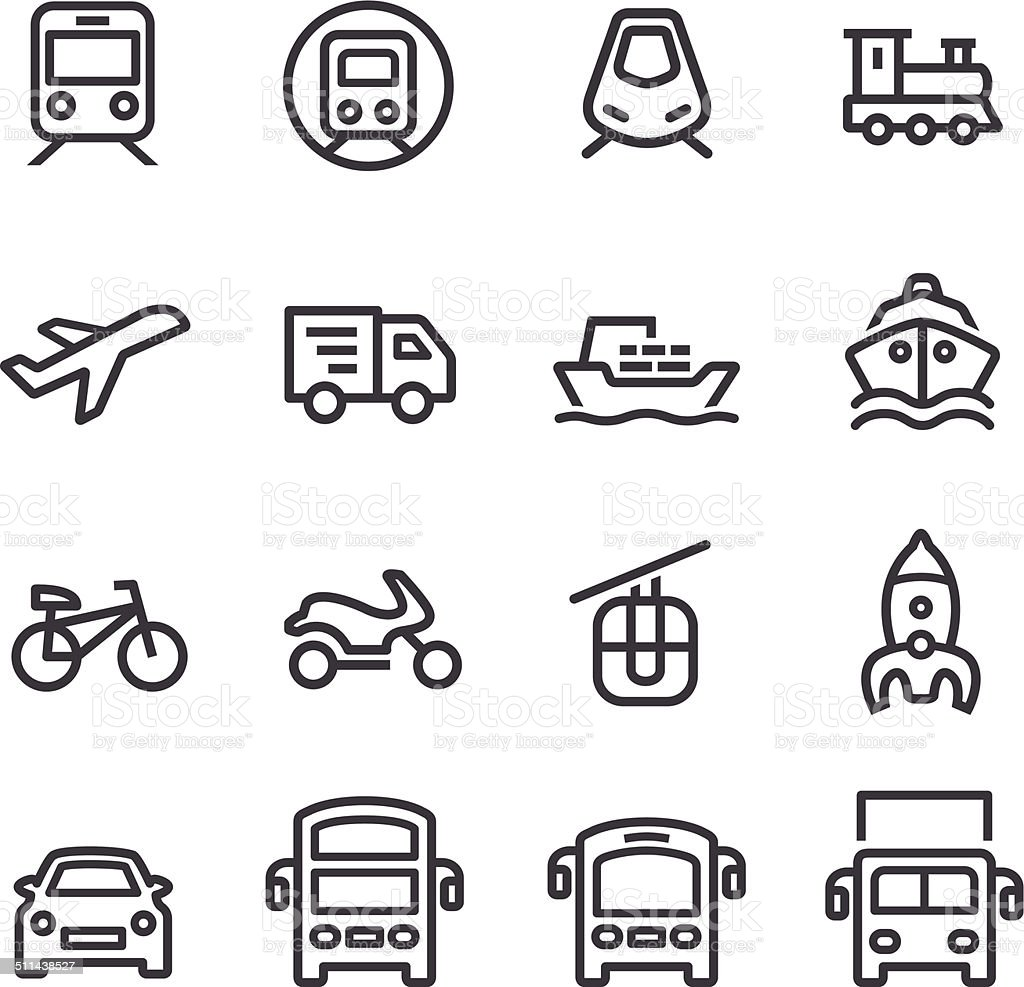 Transport Icons - Line Series vector art illustration