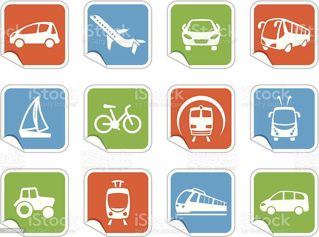 Transport icons on stickers royalty-free stock vector art