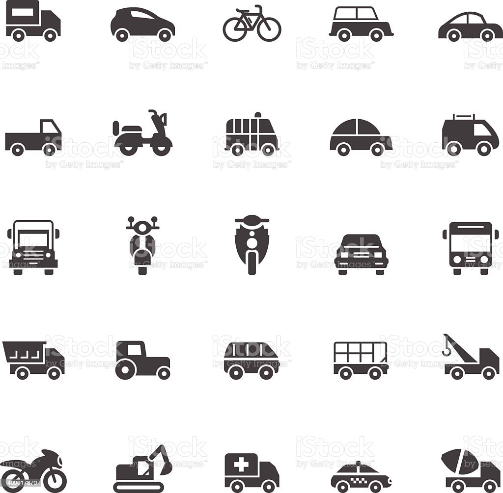 Transport icons on White Background vector art illustration