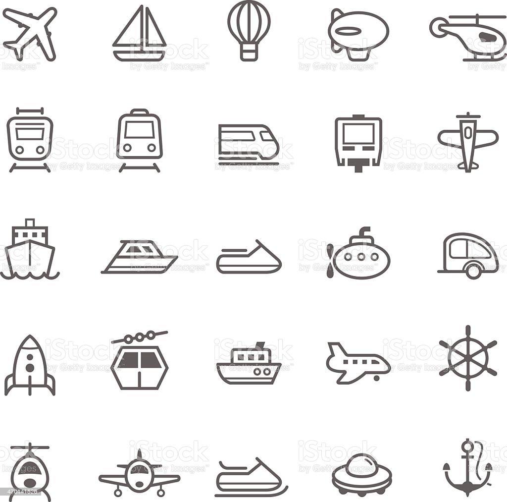 Transport icons Outline Stroke on White Background vector art illustration
