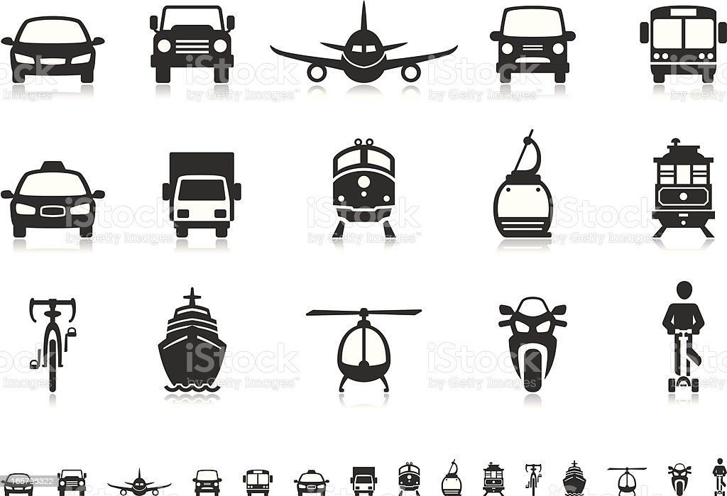 Transport icons | Pictoria series vector art illustration