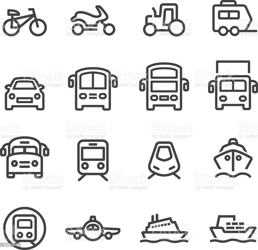 Transport Icons Set - Line Series vector art illustration