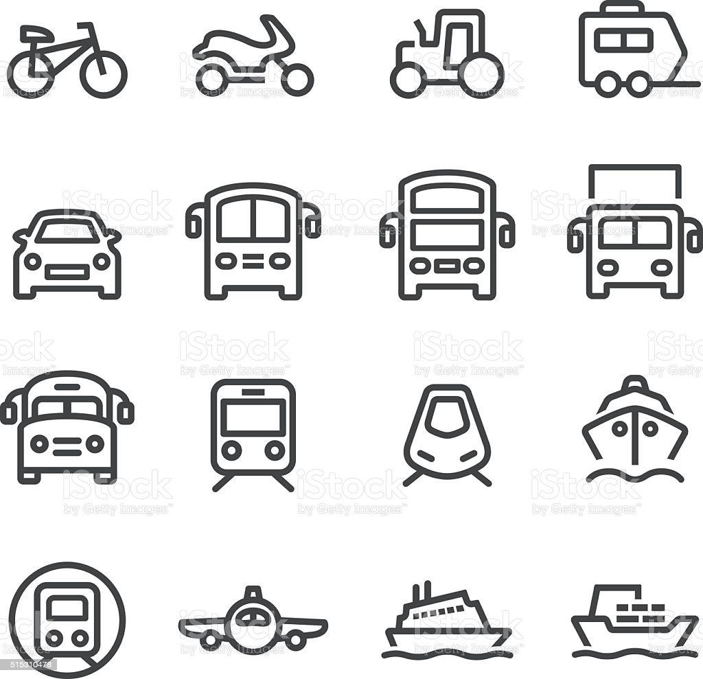Transport Icons Set - Line Series vector art illustration