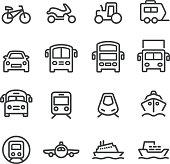 Transport Icons Set - Line Series