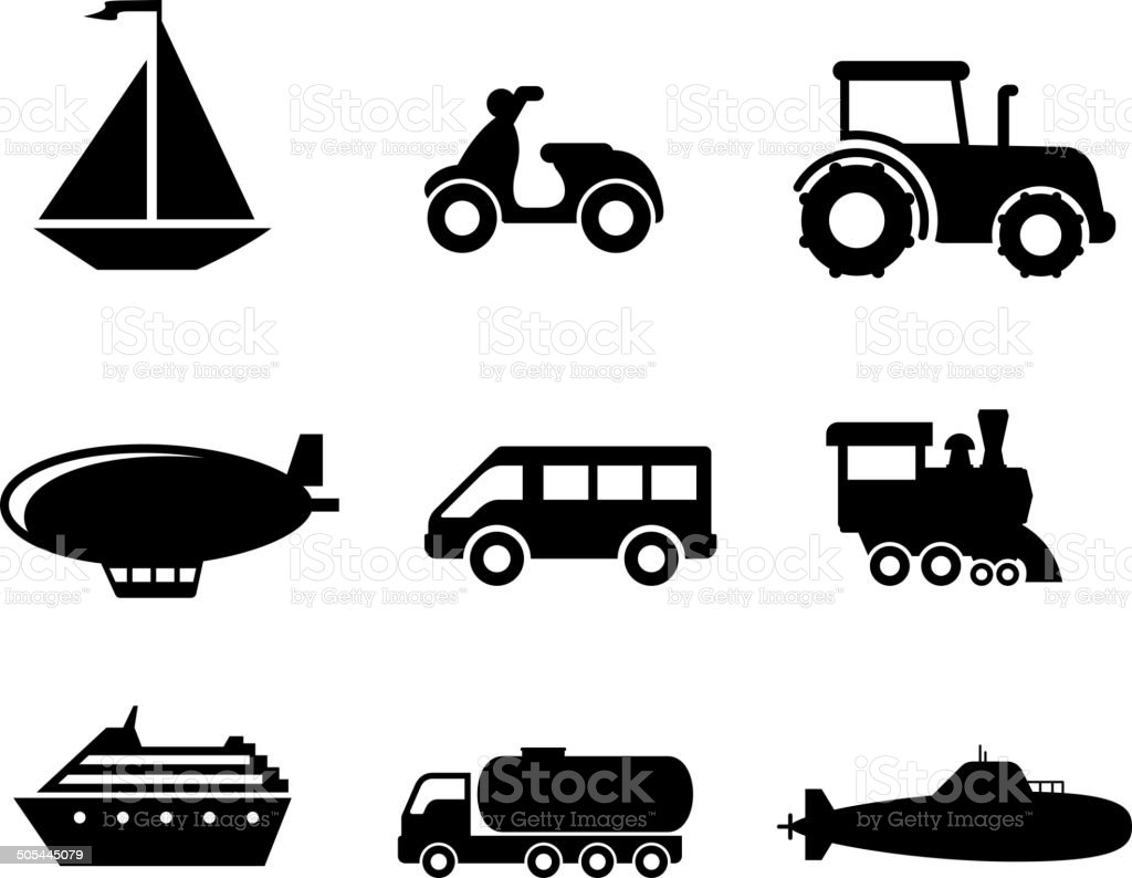 Transport icons set vector art illustration