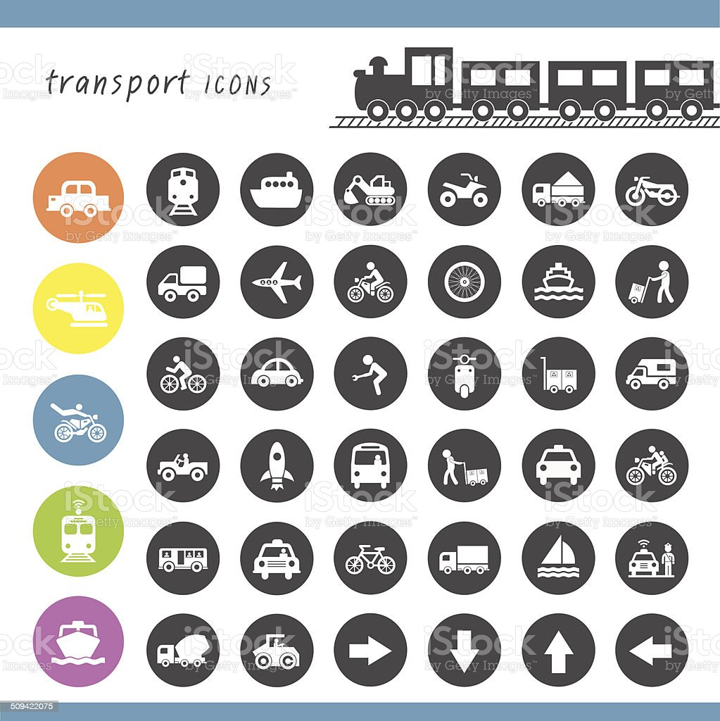 transport icons set royalty-free stock vector art
