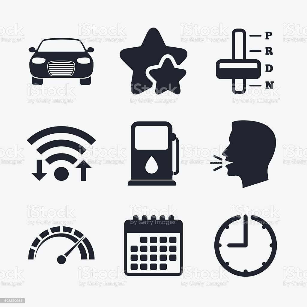 Transport icons. Tachometer and petrol station. vector art illustration