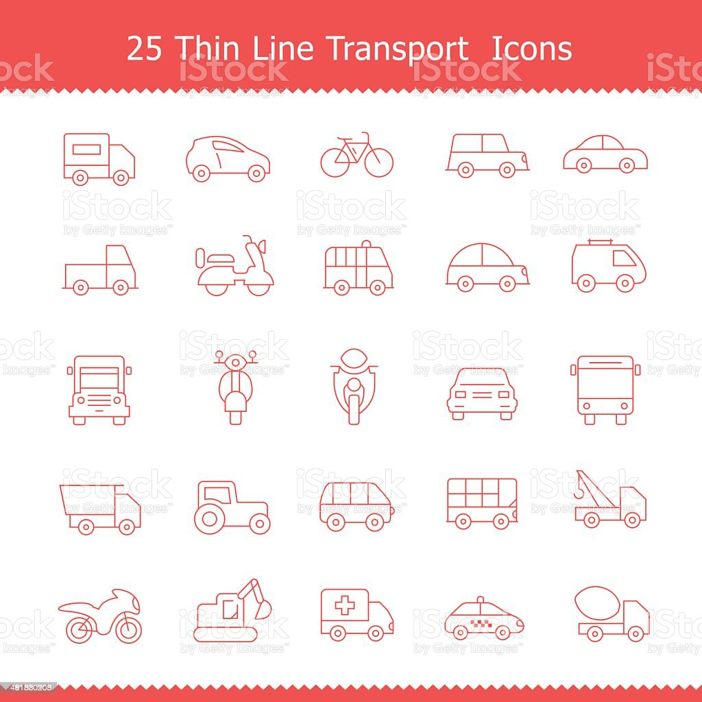 Transport icons Thin Line Stroke vector art illustration