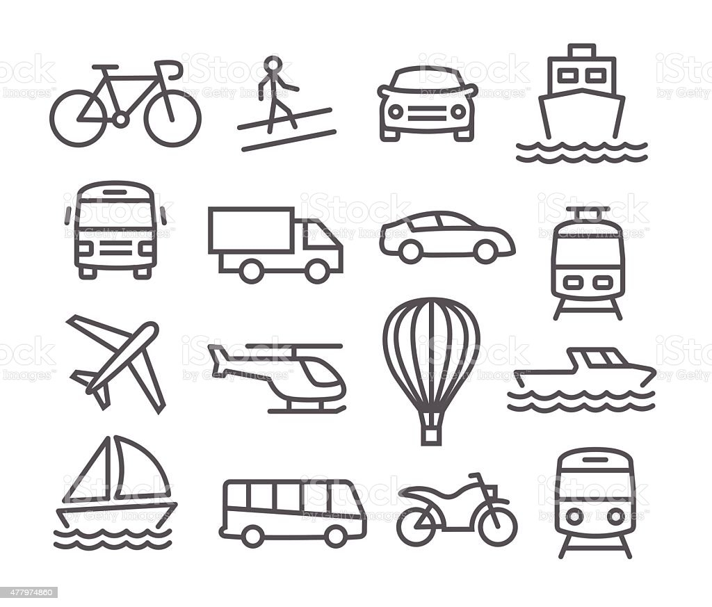 Transport icons vector art illustration