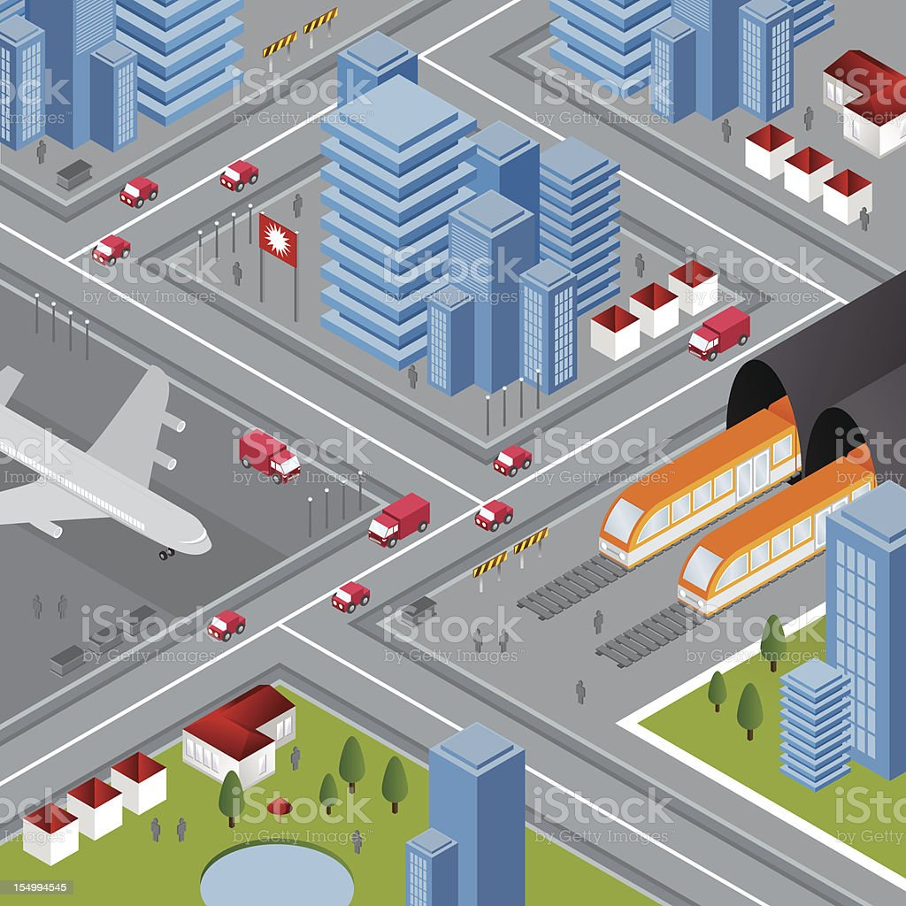 Transport isometric city vector art illustration
