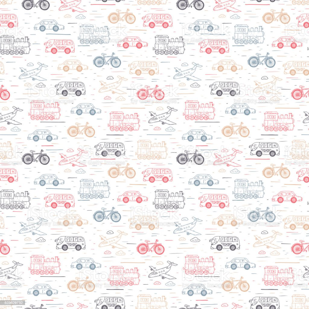 Transport seamless pattern. Hand Drawn car, airplane, steam locomotive,  bicycle vector art illustration