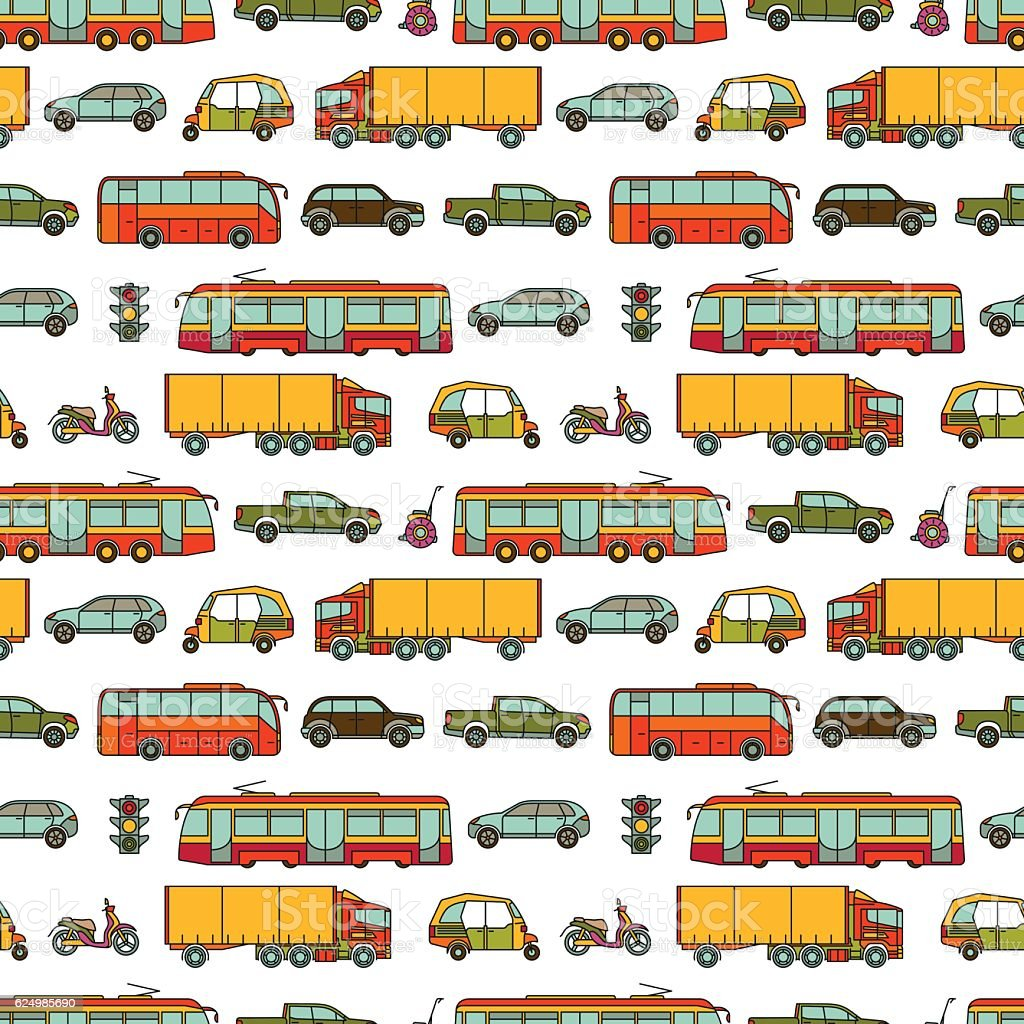 Transport seamless pattern with different vehicles vector art illustration