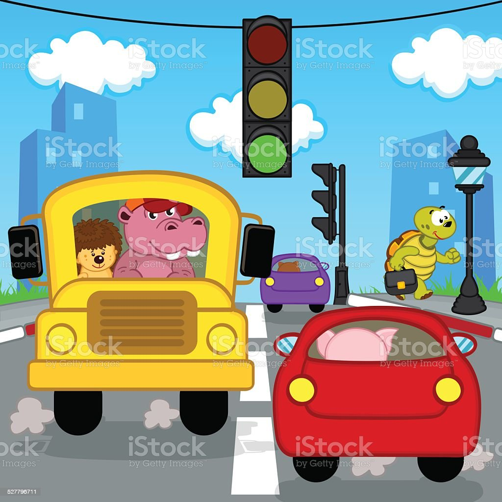 transport traffic in city vector art illustration