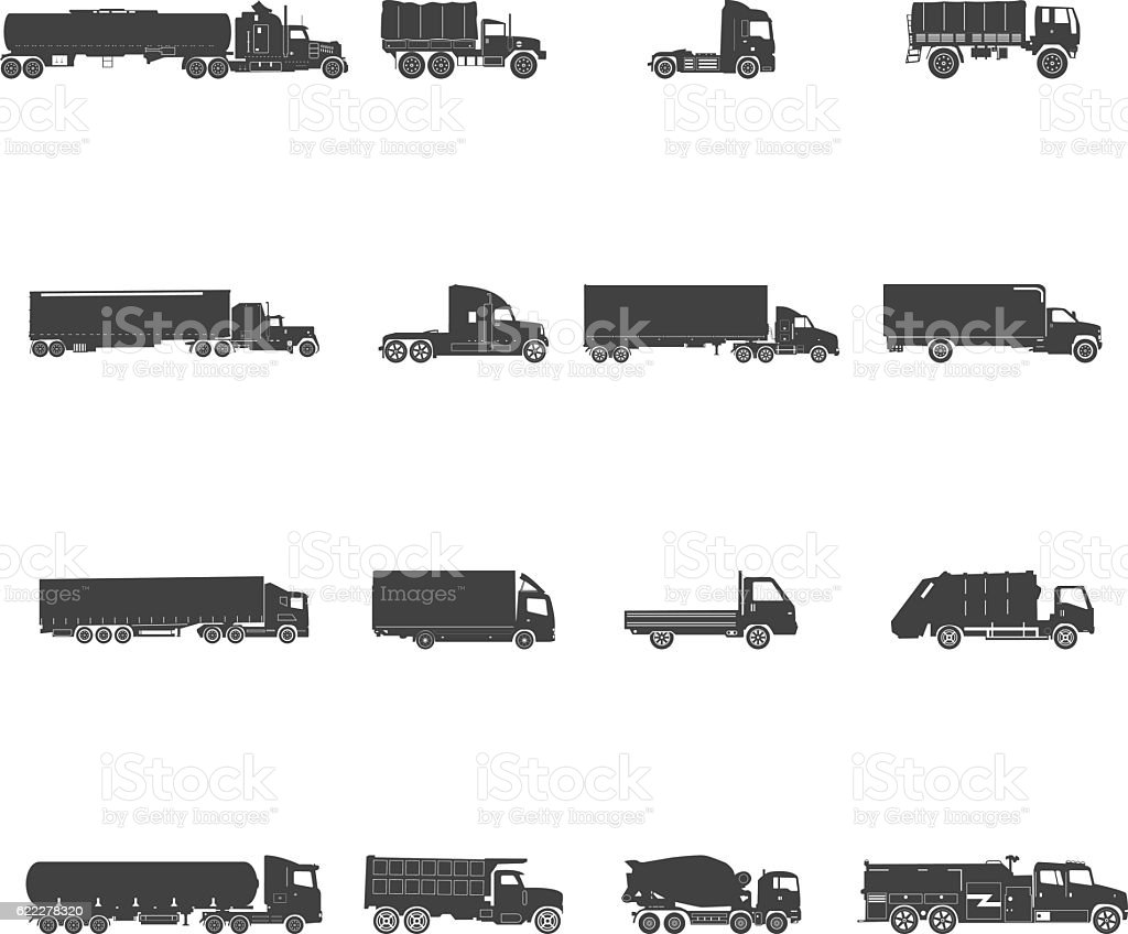 Transport Trucks Icon Set vector art illustration