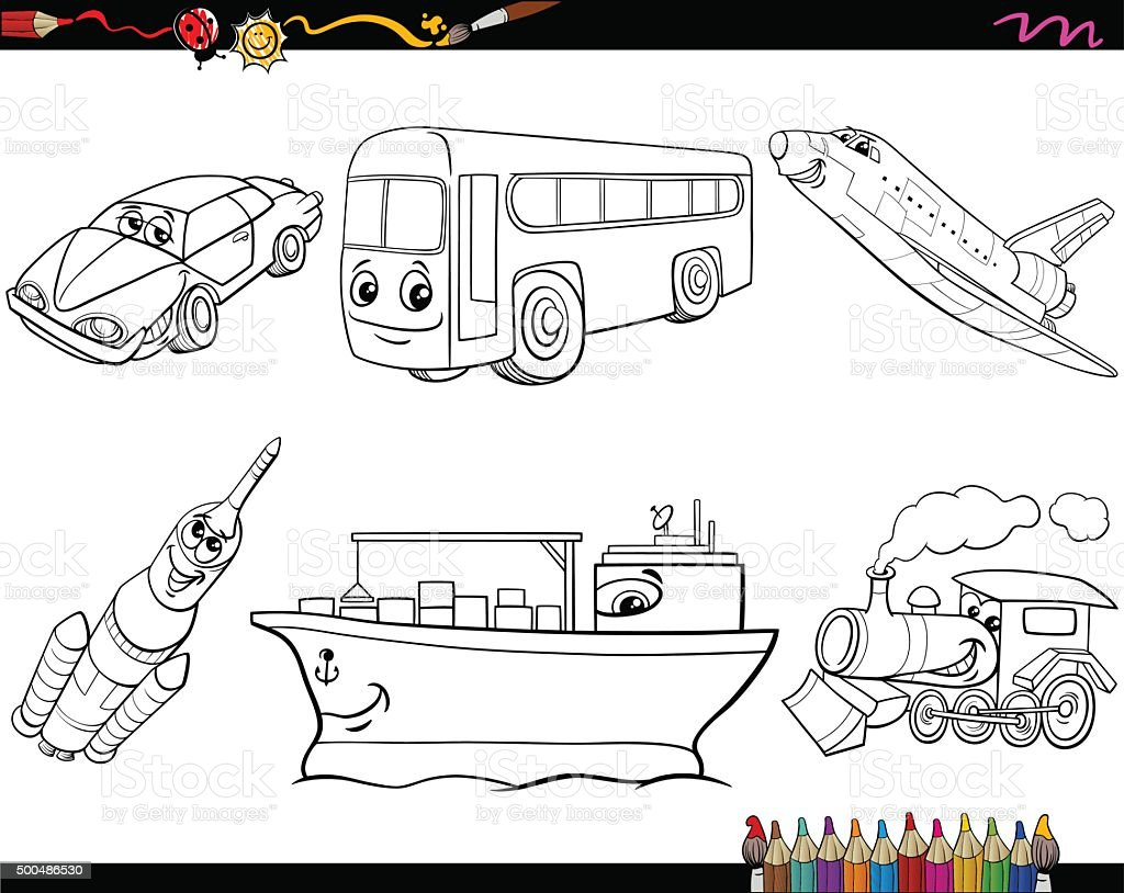 Transport Vehicles Coloring Page Stock Vector Art Vehicles Colouring Pages