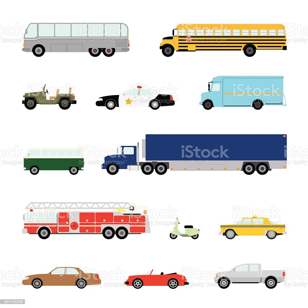 Transportation and Automotive Symbol Vector Set vector art illustration