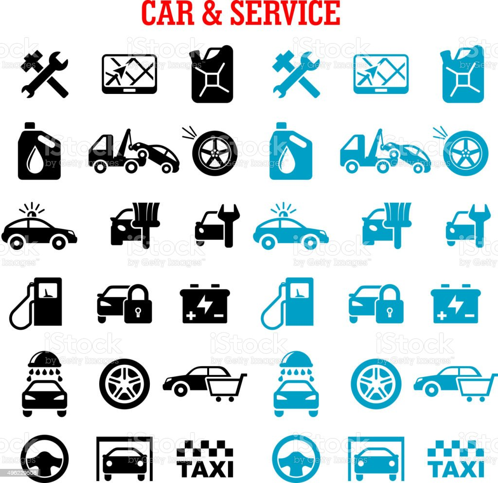 Transportation and car service flat icons vector art illustration