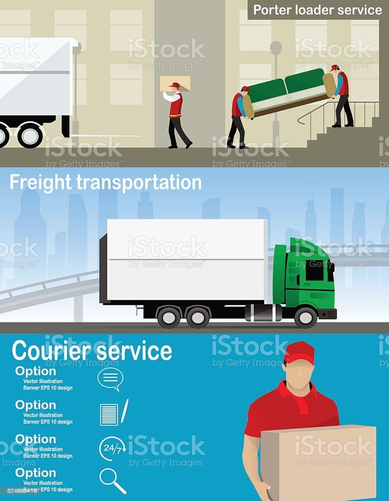 Transportation and delivery company illustration. vector art illustration
