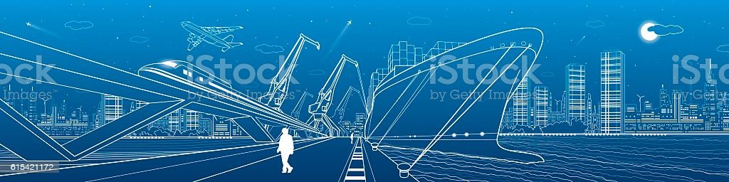 Transportation and industrial panorama. Cargo ship, train vector art illustration