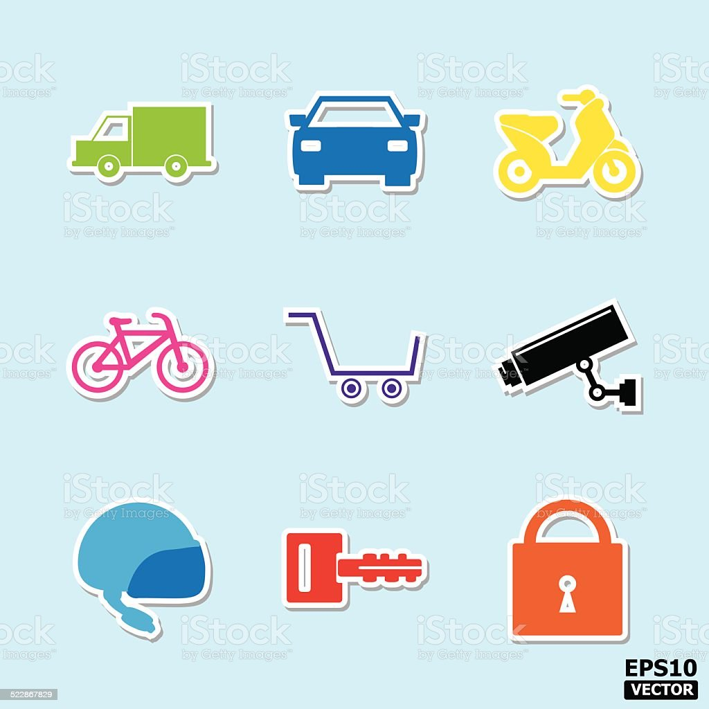 transportation and security icons or symbols set. royalty-free stock vector art