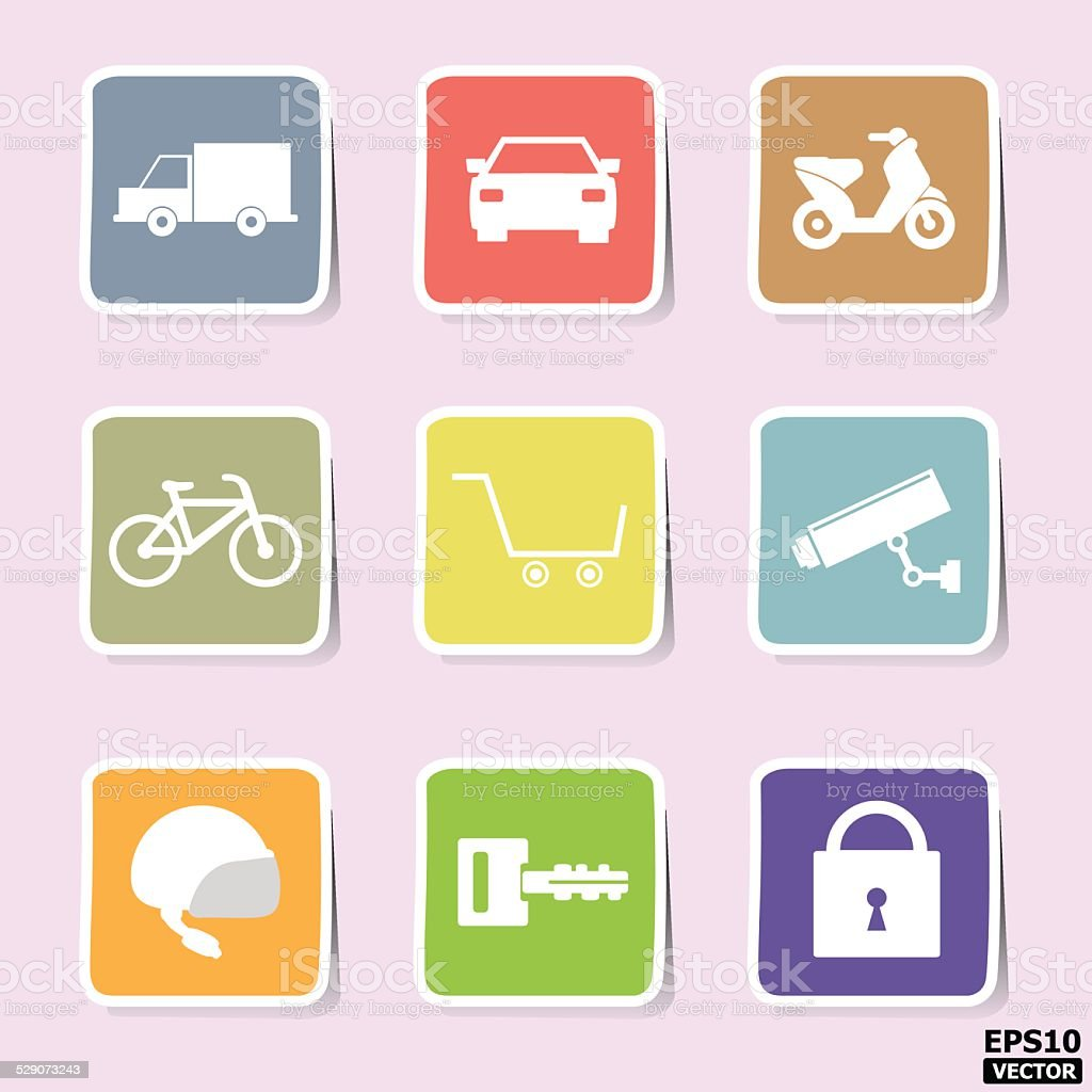 transportation and security paper icons or symbols set. -eps10 vector royalty-free stock vector art