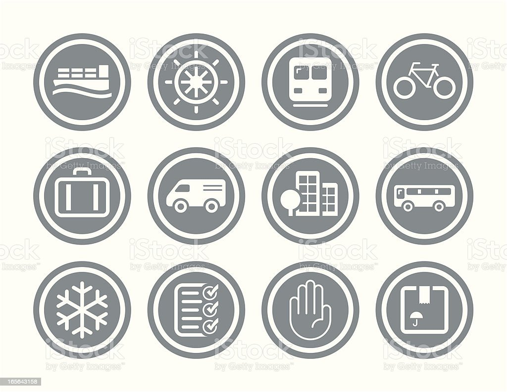 Transportation and Shipping Icon Set royalty-free stock vector art