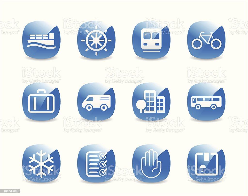 Transportation and Shipping Icon Set vector art illustration