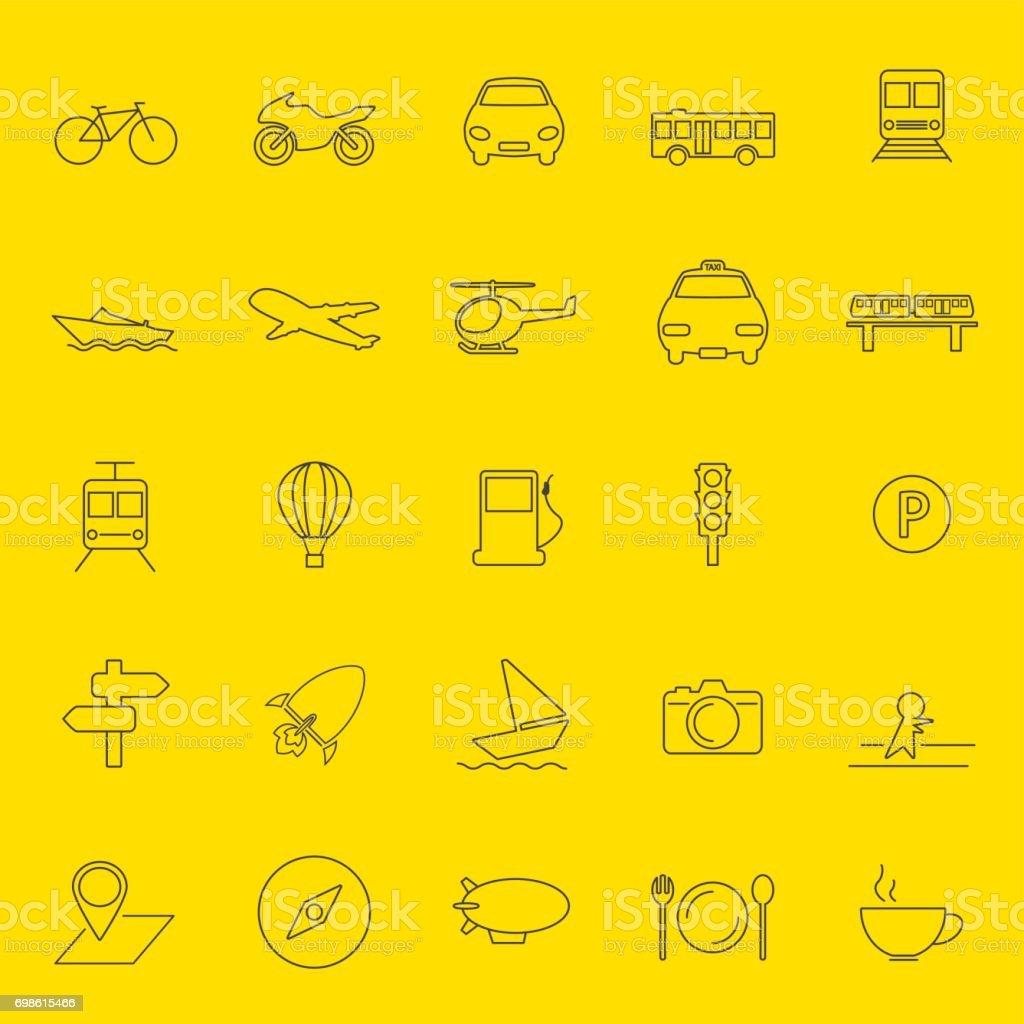 transportation and travel thin line icons vector art illustration