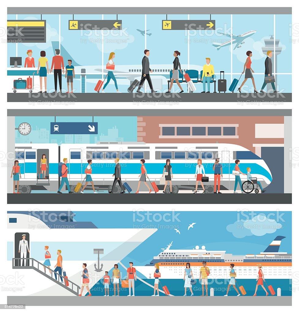 Transportation and travel vector art illustration