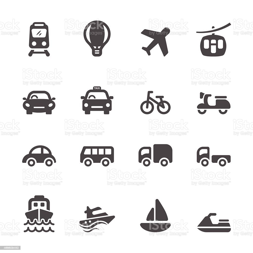 transportation and vehicle icon set, vector eps10 vector art illustration