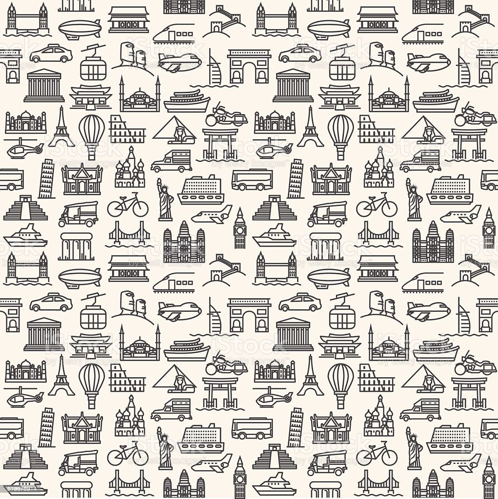 Transportation and Vehicles icons vector art illustration