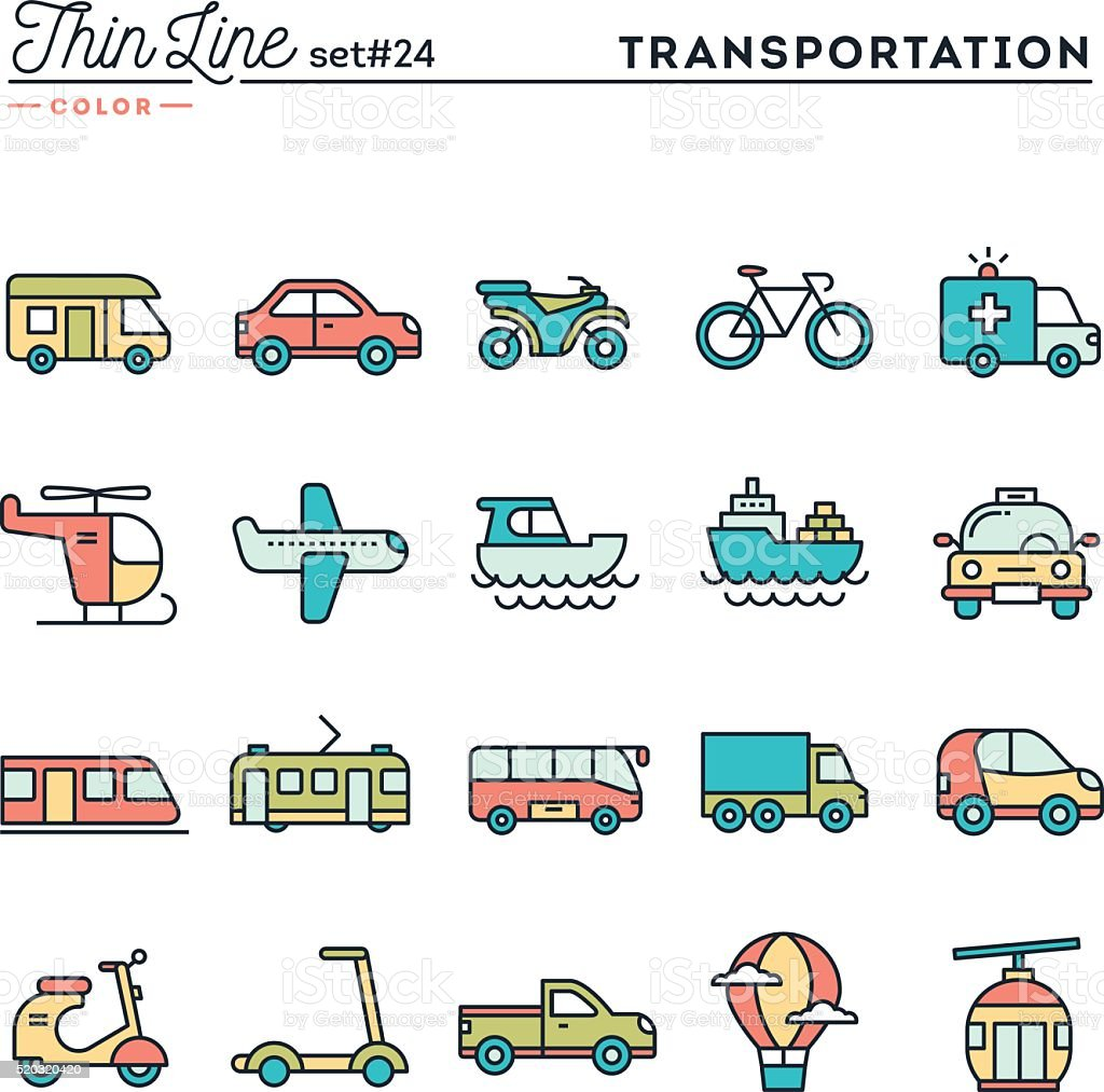 Transportation and vehicles, thin line color icons set vector art illustration