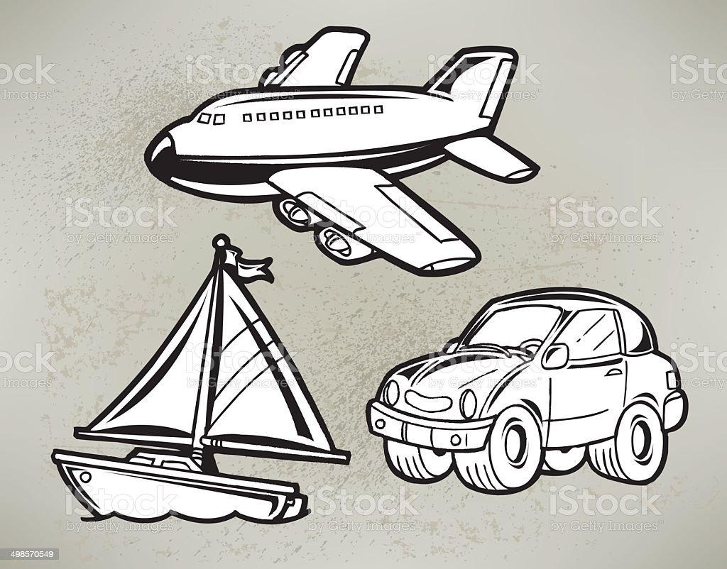 Transportation - Car, Plane, Sailboat Cartoon royalty-free stock vector art