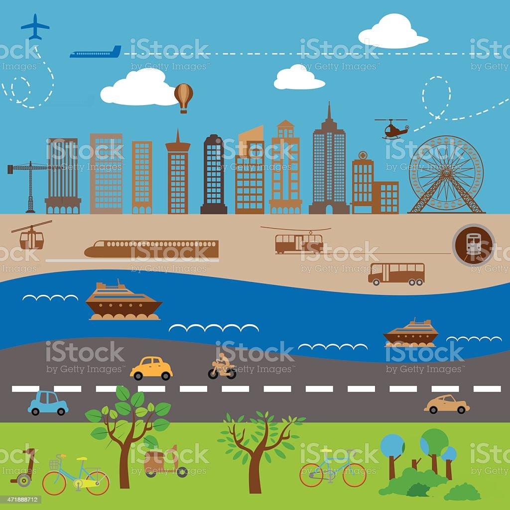Transportation city vector art illustration