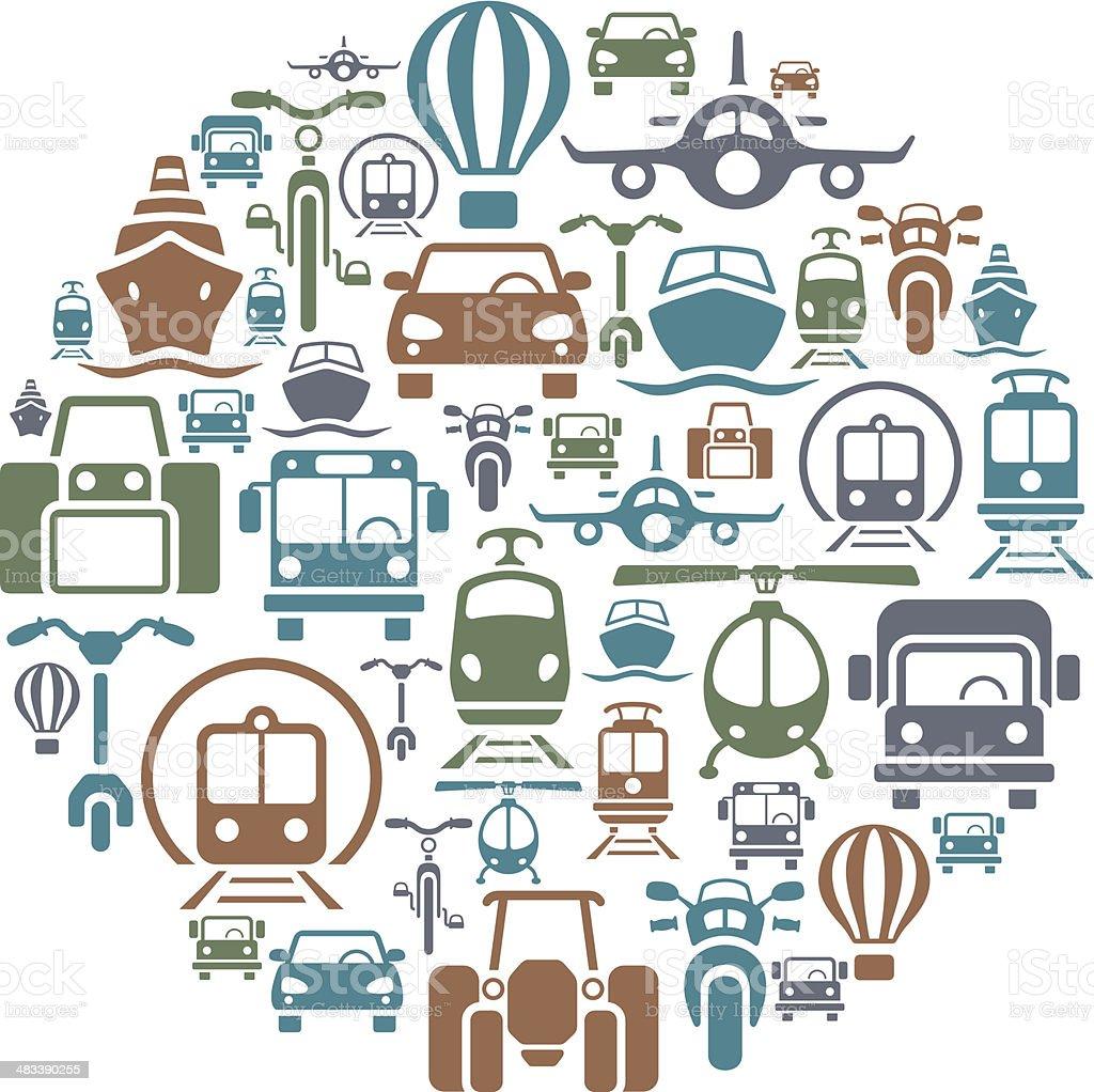 Transportation Collage Front View vector art illustration