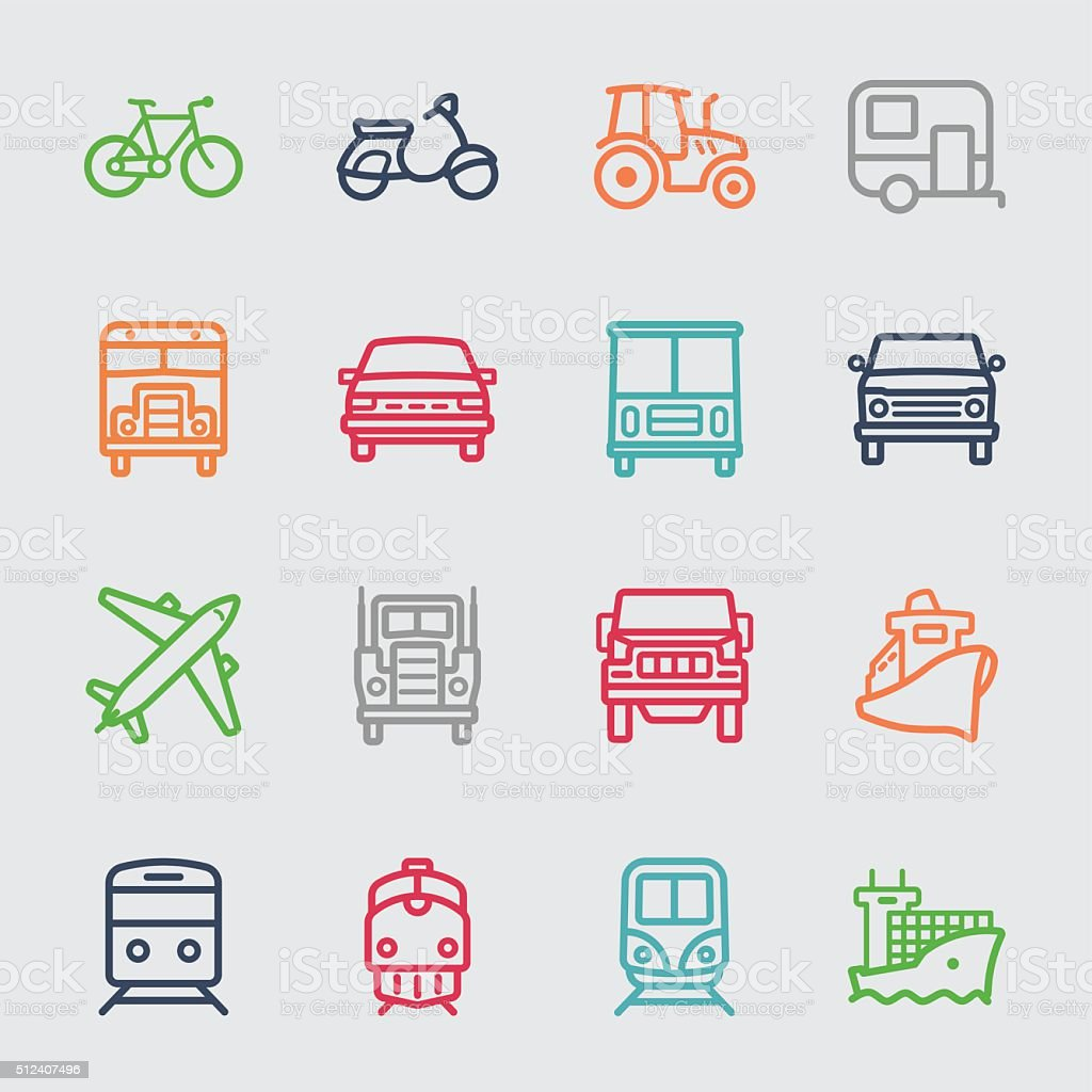 Transportation color line icon vector art illustration