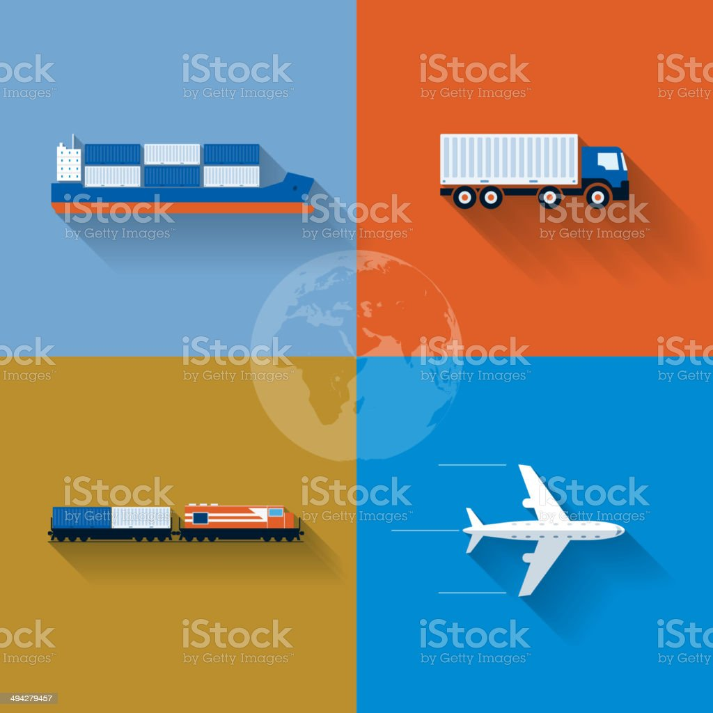 Transportation Concept Icon Set vector art illustration