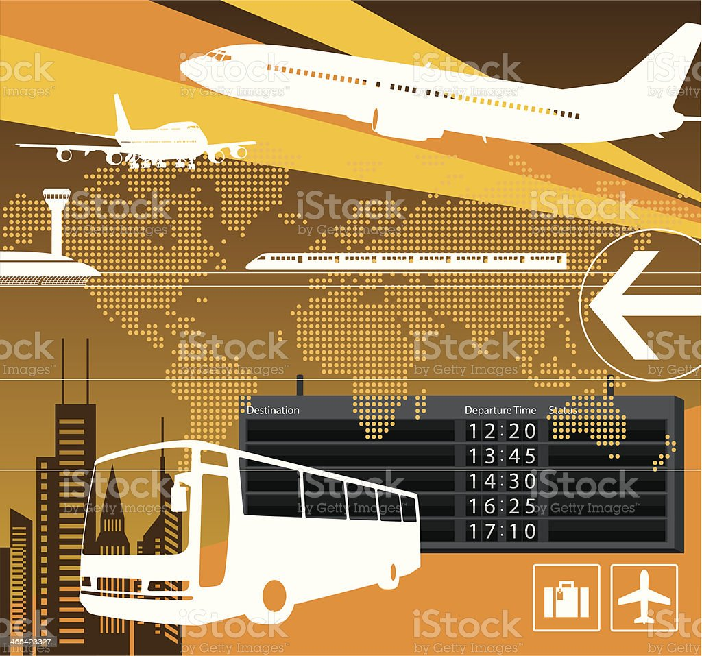 A transportation design with a bus and airplane royalty-free stock vector art