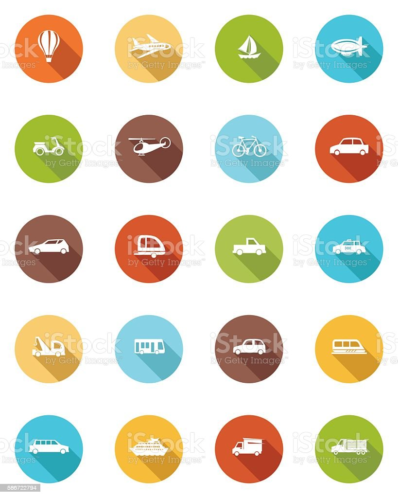 Transportation Flat Color Long Shadow Icons vector art illustration
